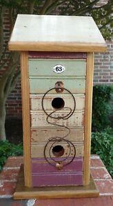Rustic-Heartwood-Pine-and-Bead-Board-034-Rainbow-Condo-034-Bluebird-Birdhouse