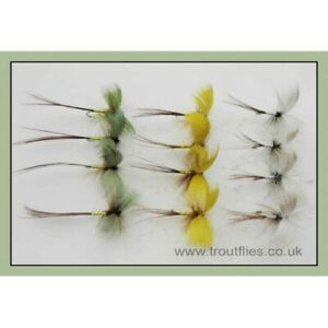 Drake-Mayflies-12-Pack-Coloured-Drake-Mayfly-Trout-Flies-Green-Grey-Yellow