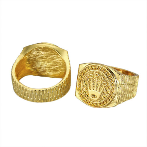 Vintage Hip Hop Gold Crown Ring Men Women Engagement Wedding Party Rings JeweLLD