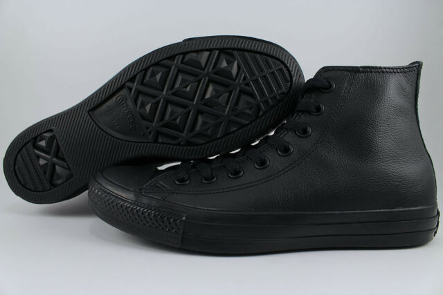 77704dbaf5ff CONVERSE ALL STAR CHUCK TAYLOR HI LEATHER TRIPLE BLACK MONO CLASSIC 135251C  MENS