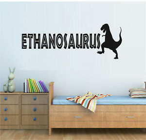 Image Is Loading PERSONALISED NAME DINOSAUR WALL ART STICKER QUOTE DECAL