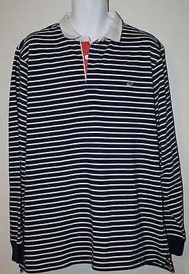 Navy Blue White Nautical Stripe Ls