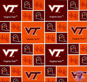 1//2 YARD CUTS ~ VIRGINIA TECH ~ 100/% COTTON ~ SYKEL ENTERPRISES ~ VT-020