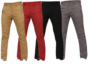 Mens-Slim-Fit-Chinos-Jeans-Regular-Straight-Leg-Stretch-Trousers-Pants-All-Sizes