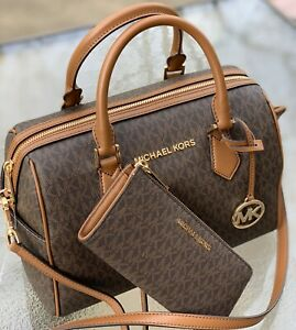 Details about NWT MICHAEL KORS HAYES MK BROWN SIGNATURE SATCHEL DUFFLE TOTE BAG + WALLET