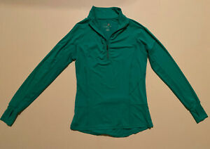 Tangerine Womens 1/2 Zip Pullover Athletic Top Sz Small Teal Thumb Holes EUC