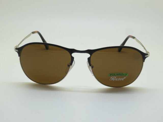 1bbf936635 New Authentic PERSOL 7649-S 1070 57 Black Gold Aviator Polarized 56mm  Sunglasses