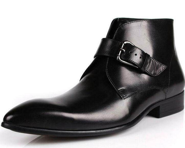 Uomo Point Point Uomo Toe Pelle Formal Dress British Style Ankle short Stivali Buckle shoes c2a5ef