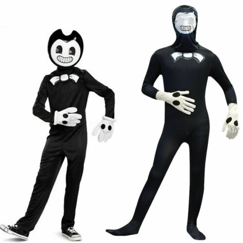 Kid Bendy And The Ink Machine Cosplay Halloween Costume Jumpsuit+Hat Fancy Dress