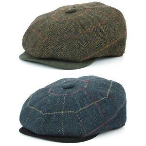 9658d2139 Details about Tweed Gatsby Newsboy Hat BLUE GREEN Flat Cap Peaky Blinders  Hawkins 8 Panel