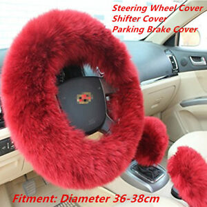 1ed7d4db38a6 3Pcs Fur Wool Furry Car Steering Wheel Cover +Shifter Cover +Parking ...