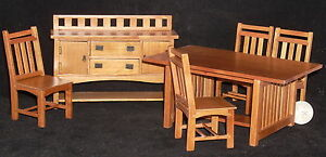 Dollhouse-Miniature-Pecan-Mission-Dining-Set-Table-Buffet-4-Chairs-1-12-T7239