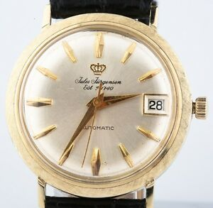 Vintage-14k-Yellow-Gold-Men-039-s-Jules-Jurgensen-Automatic-Watch-w-Leather-Band