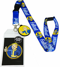 Fallout Game Lanyard w/ Sticker ID Badge Holder & Vault Boy Charm New Official