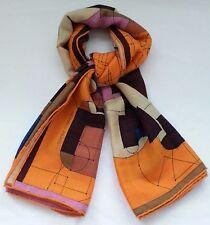 New Hermes Wrap, Orange 'Echec Au Roi' Cashmere Silk Shawl, 140 x 140 Scarf, Box