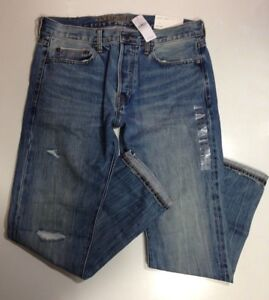 NWT American Eagle Outfitters AEO Men's Slim Selvedge Destroy Jean【31 x 30】