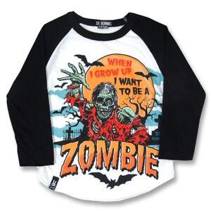 Six Bunnies When I Grow Up Zombie Kids Tee Toddler Raglan Punk Rockabilly Bats