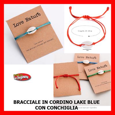 Cavigliera Bracciale Conchiglie Ciprea Con Cordino Colorato Lake Blue
