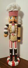 "Cupcake Baker Nutcracker Gingerbread Maker Chef Wooden 15"" Christmas NEW"