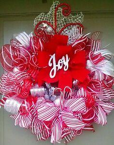 Handmade-Deco-Mesh-Christmas-JOY-Wreath-25-034-Candy-Cane-Winter-Holiday-Door-Decor