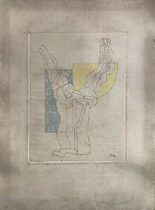 Luigi Zanfretta punta secca acquarellata Gelso luce e Ombra 54x39 firmata 1986