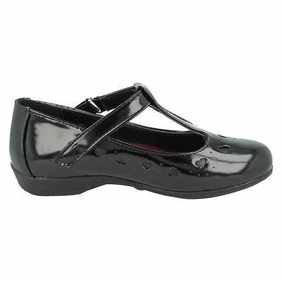 GIRLS SPOT ON T-BAR HEARTS STYLE BLACK RIP TAPE SMART SCHOOL SHOES H2336