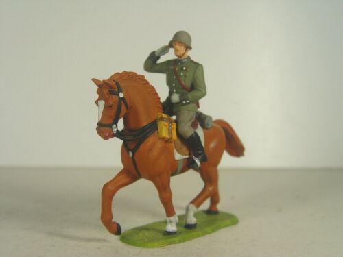 Dt Soldat Offizier zu Pferd braun  Preiser Elastolin Figur 1:25-56050  #69 #E