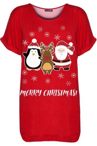 Da Donna con Pinguino Pupazzo di Neve Santa Natale Xmas oversize Baggy T Shirt Top