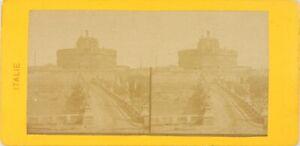 Italia Roma, Château Saint-Angel, Foto Stereo Vintage Albumina PL60OYL1
