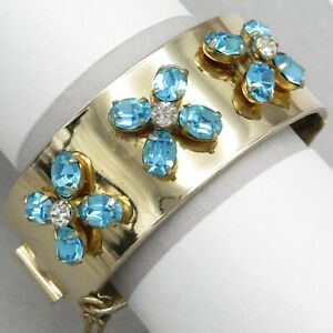 Vtg-1940-039-s-Victorian-Revival-Aquamarine-Flower-Rhinestone-Glass-Bangle-Bracelet