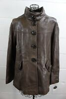 $1035 Vakko Neiman Brown Soft Lamb Leather Large Button Jacket Coat Xl
