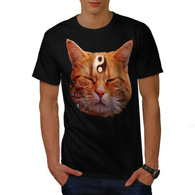 Yin Yang Graphic Design Wellcoda Meditation Zen Cat Mens Long Sleeve T-shirt