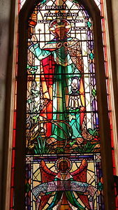 """Stained Glass Huge Jesus Christ Window Salvage Gothic  H 278cm W 92cm; 9'2"""" * 3'"""