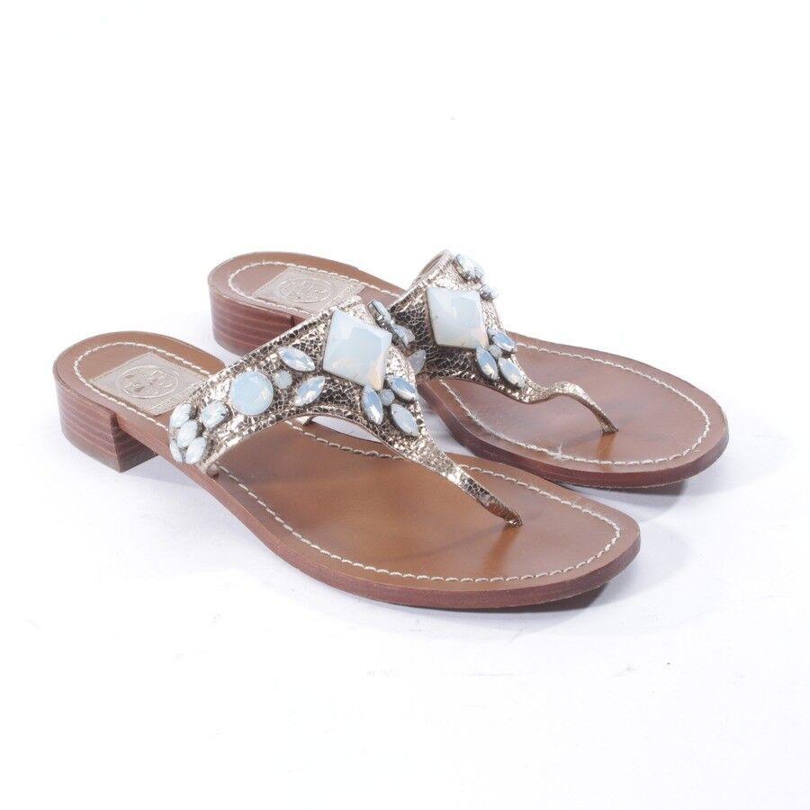 Tory Burch sandalias gr. d 38,5 us 8 oro Zapatos señora Shoes tira dedo Flats