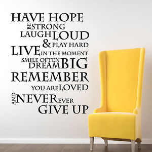 Image Is Loading Have Hope Inspirational Wall Stickers Quotes Wall Decals