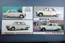 LOT 4 BROCHURES PUBLICITAIRES PEUGEOT 204 AUTOMOBILE DEPLIANT 1968 CAR