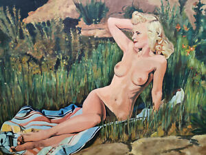 F-de-BREEF-Oil-Painting-Erotic-Nude-Naked-Woman-on-cover-DATED-1963