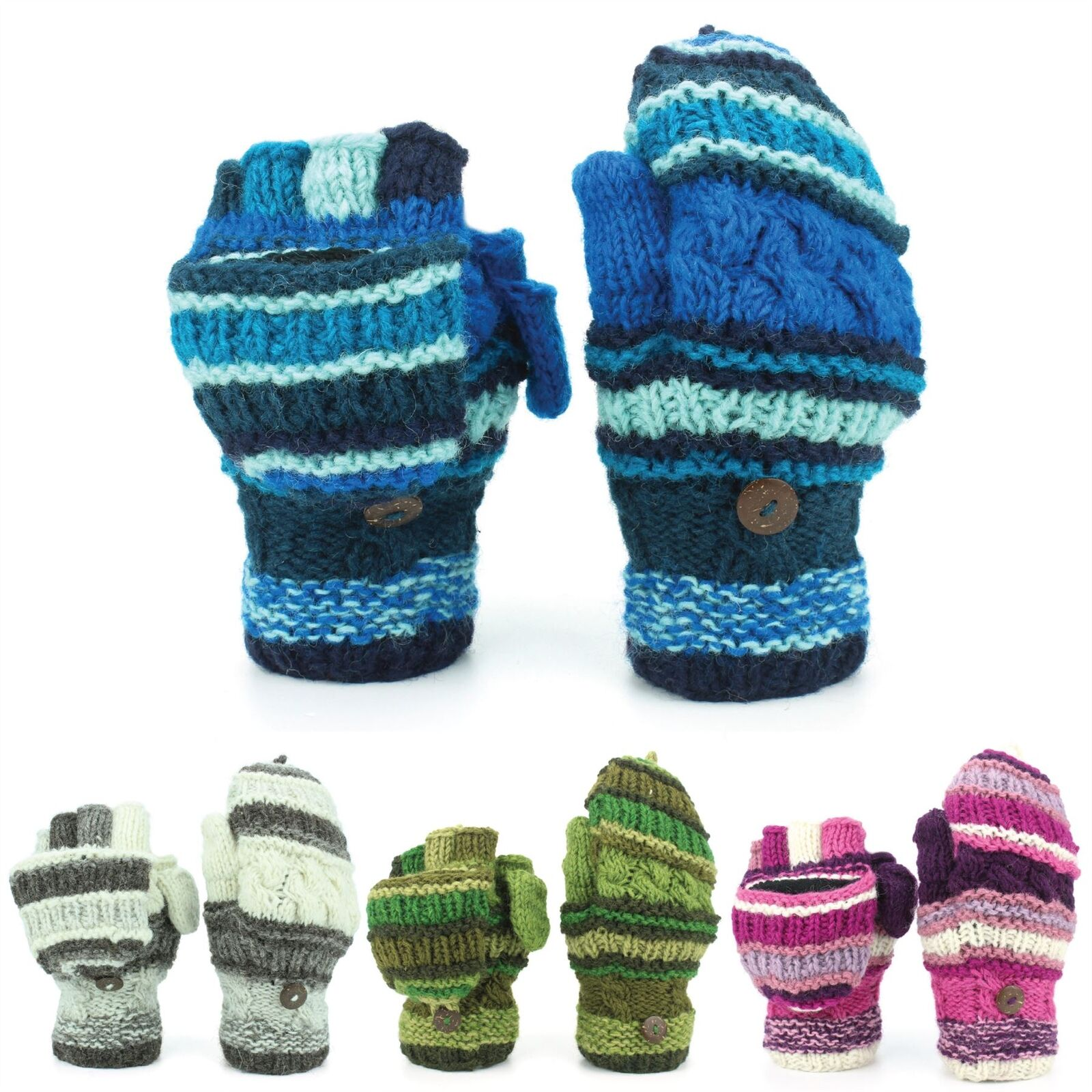 Wool Gloves Shooters Mittens Fleece Lined STRIPE MIXED KNITS Nepal Handmade