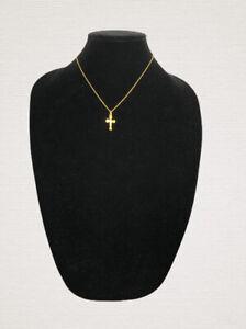 Vintage-Necklace-Gold-Tone-Chain-amp-Cross-Pendant-Elegant-Dainty-Pretty-Costume