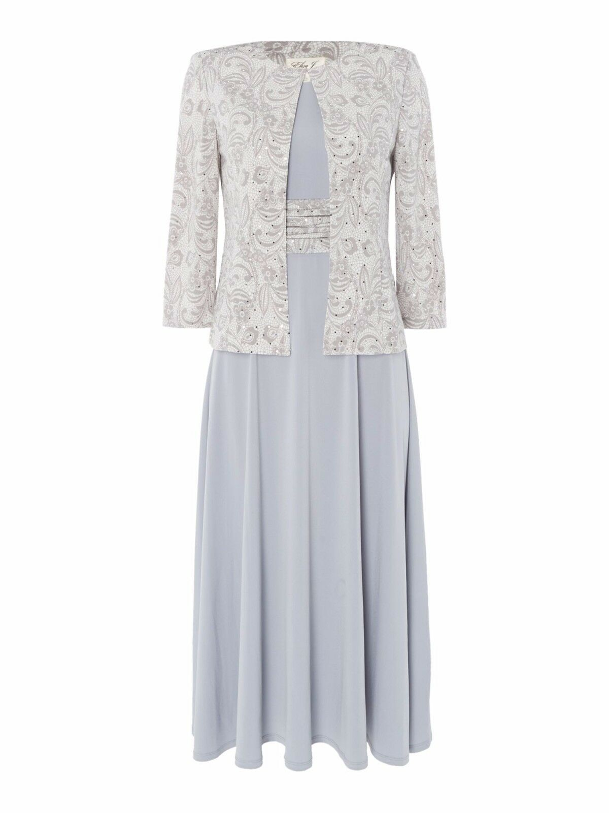 Eliza J Jersey Printed Occasion Dress With Jacket Grey TD172 OO 02