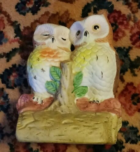 015 Vintage Porcelain Owls on Branch 1 Napping 1 Awake
