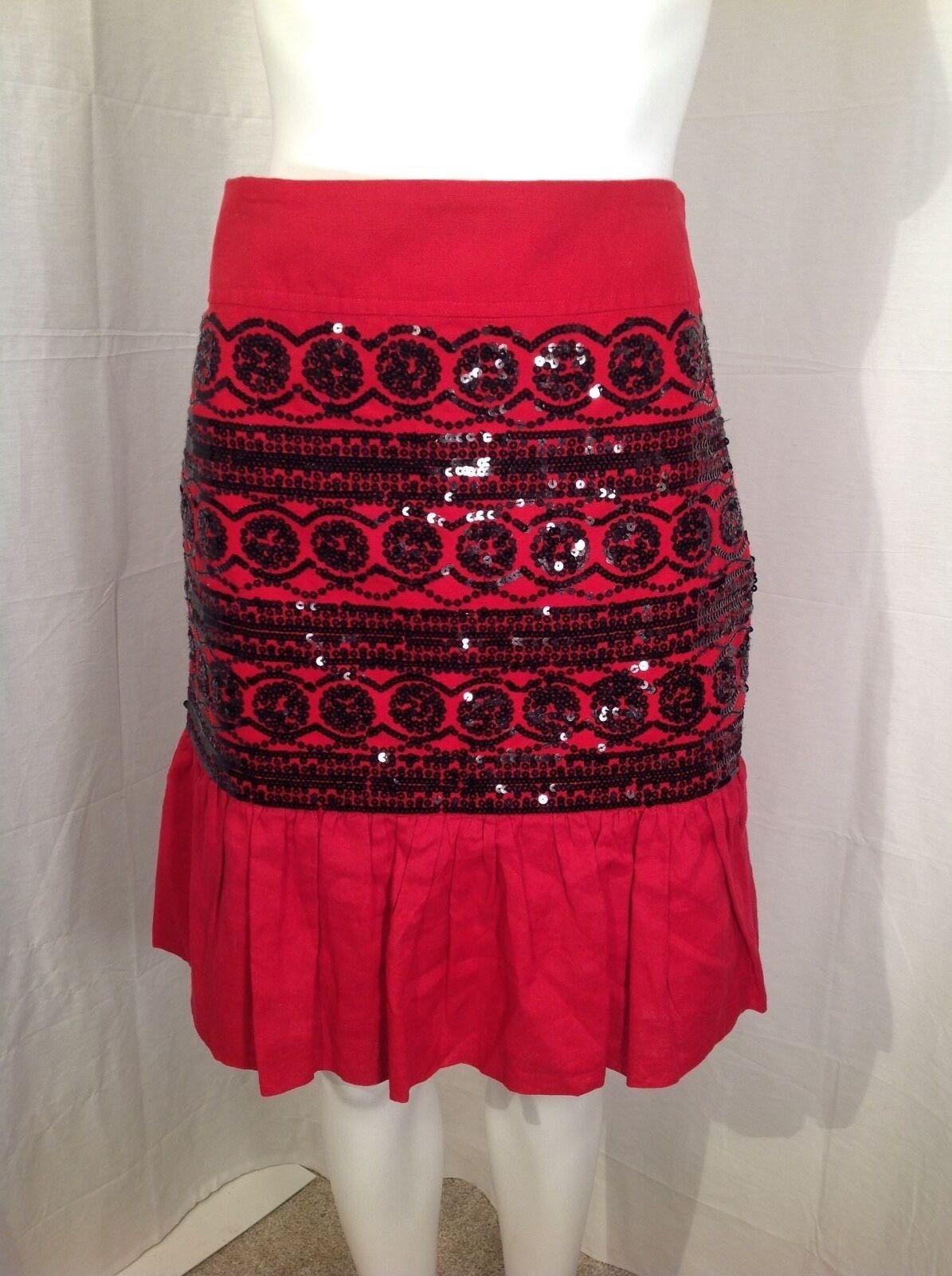Anthropologie Moulinette Soeurs Red Sequin Skirt Sz 8