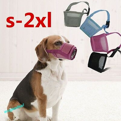 Dog Soft Mesh Adjustable Muzzle Control Barking Various Sizes 3 Colours Treedy