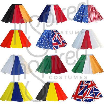 """Girls 12/"""" Flag Skater Panel Skirt OLYMPICS WORLD FLAG DAY Fancy Dress FRANCE UK"""