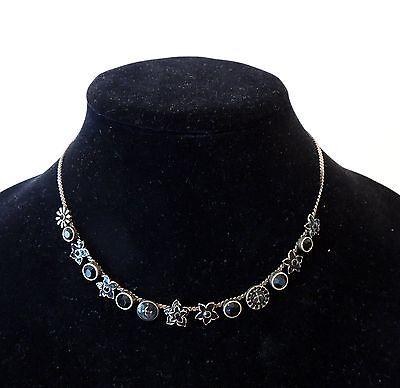 "PILGRIM of DENMARK Black Enamel Necklace 16"" Brass with adj.chain"