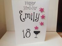 Handmade personalised 18th, 21st ....birthday card, personalised with name