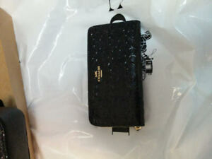 COACH-F54805-Midnight-Navy-Sig-Embossed-Shiny-Leather-Zip-Around-Wallet-NWT