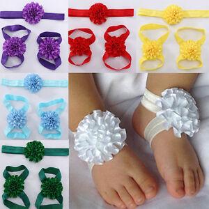 newborn baby girl kids infant headband foot flower elastic