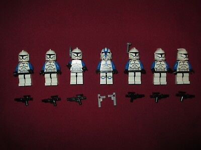 LEGO Star Wars Minifigures LOT 501st Squad Clone Troopers /& Weapons