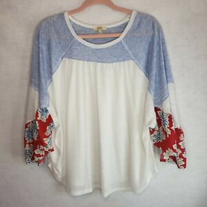 Kori-America-Floral-Shirt-Bell-Sleeves-Blue-White-Red-Womens-Small-Baby-Doll-Top